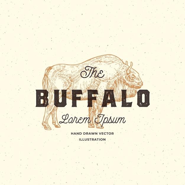 Buffalo abstract zeichen, symbol oder logo-vorlage. Kostenlosen Vektoren