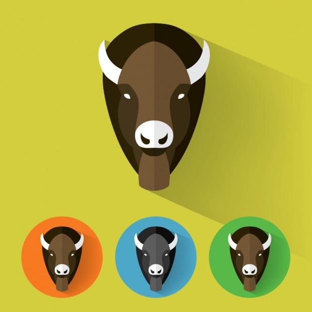 Buffalo-ikonen-sammlung Kostenlosen Vektoren