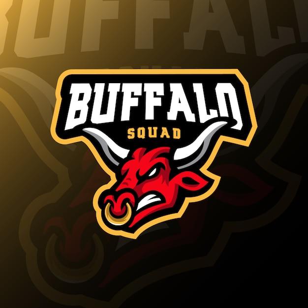 Buffalo maskottchen logo esport gaming illustration Premium Vektoren