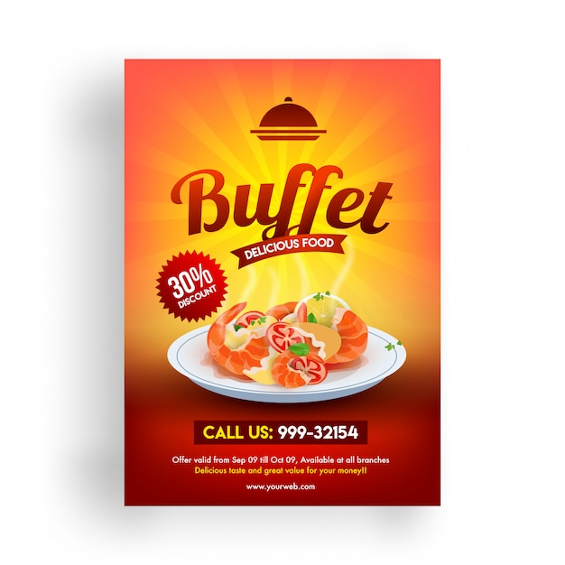 Buffet flyer oder menügestaltung mit rabattangebot. Premium Vektoren