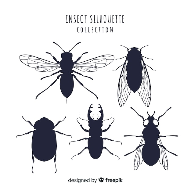 Bugs silhouette sammlung Kostenlosen Vektoren