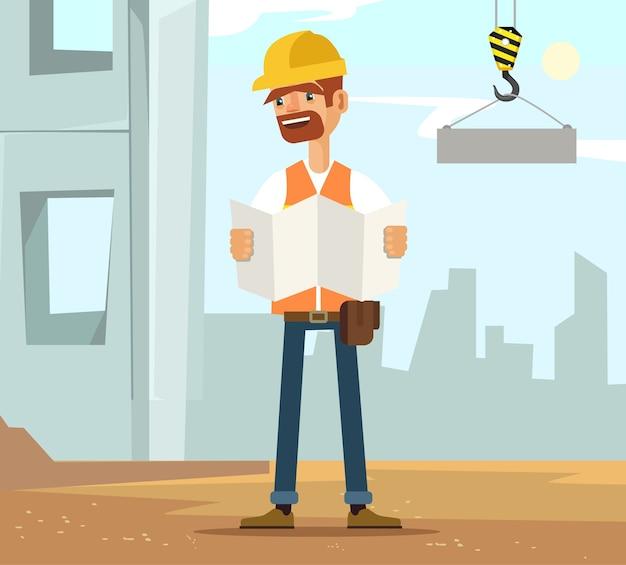 Builder mann arbeiter charakter auf bau lesen flugzeug, flache karikatur illustration Premium Vektoren
