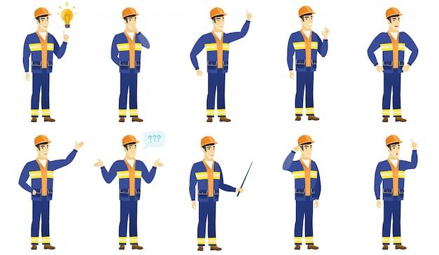 Builder-zeichensatz. Premium Vektoren
