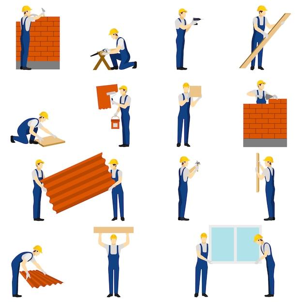 Builders menschen festgelegt Kostenlosen Vektoren