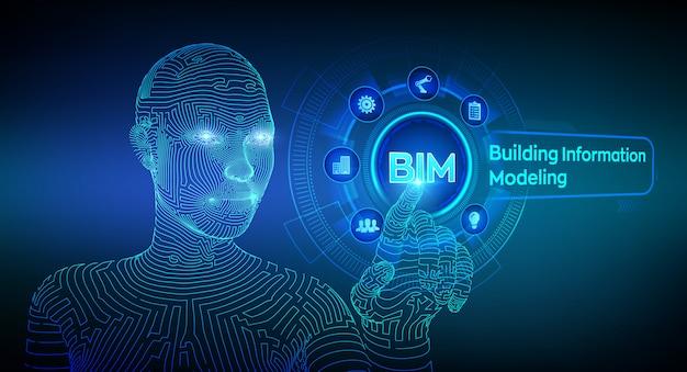 Building information modeling technology hintergrund Premium Vektoren