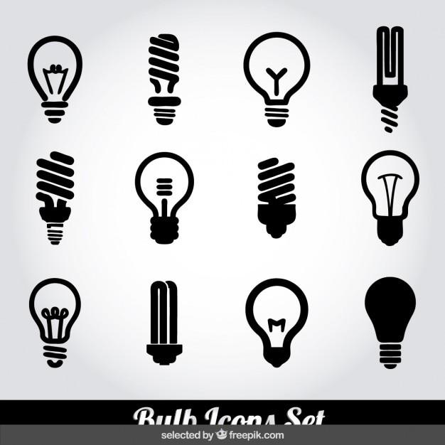 Bulb icons set Kostenlosen Vektoren
