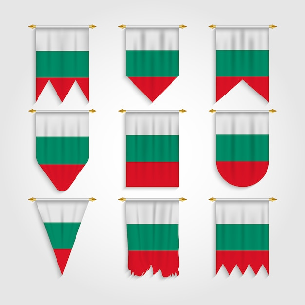 Bulgarien flagge in verschiedenen formen Premium Vektoren