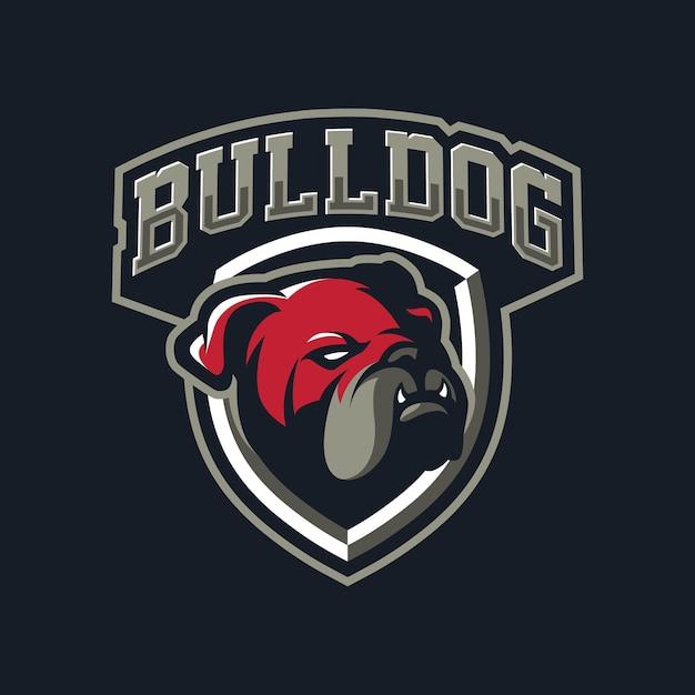 Bulldog maskottchen logo design für den sport Premium Vektoren