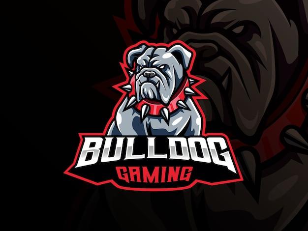 Bulldog maskottchen sport logo. hundekopf maskottchen logo. wildes bulldoggen-maskottchen für das esport-team. Premium Vektoren