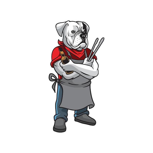 Bulldogge grill maskottchen logo Premium Vektoren