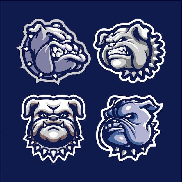 Bulldogge kopf maskottchen für esport und sport logo isoliert Premium Vektoren