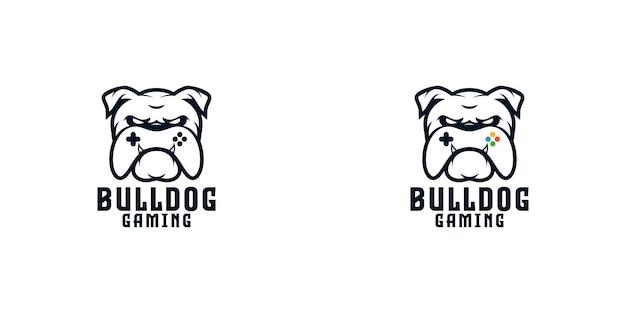 Bulldogge mit game-controller-logo-design-vorlage Premium Vektoren