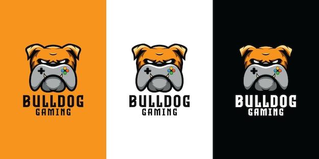 Bulldogge mit gamecontroller-logo-design Premium Vektoren