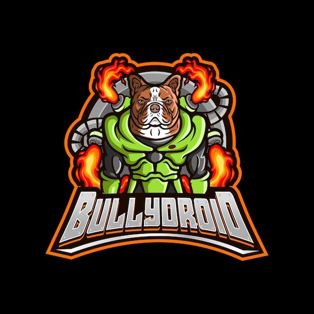 Bulldoggenroboter-karikaturlogo Premium Vektoren