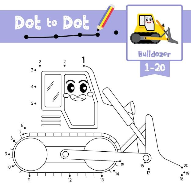 Bulldozer dot to dot-spiel und malbuch Premium Vektoren
