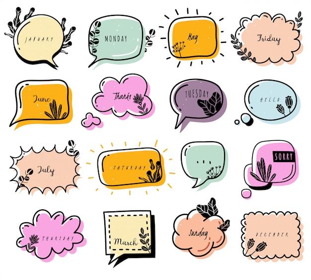 Bullet journal doodle elemente sammlung. sammlung von gekritzelblasen. farbig, mit blumen verziert. dialogbox. wolken Premium Vektoren