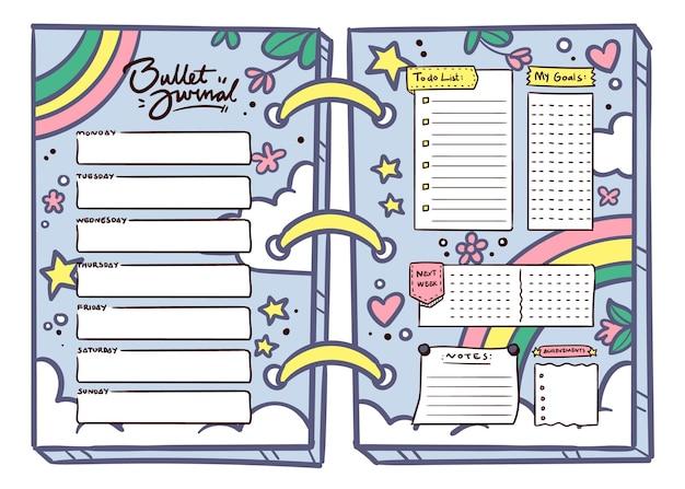 Bullet journal planer im mädchenstil Kostenlosen Vektoren