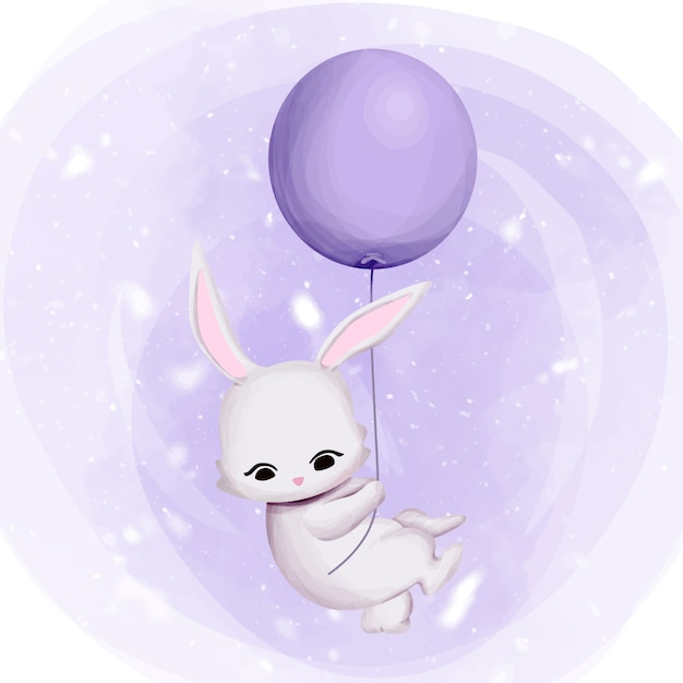 Bunny flying zum himmel mit ballon Premium Vektoren