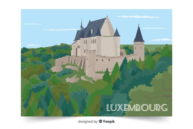Bunte abbildung mit luxemburg-palast Kostenlosen Vektoren