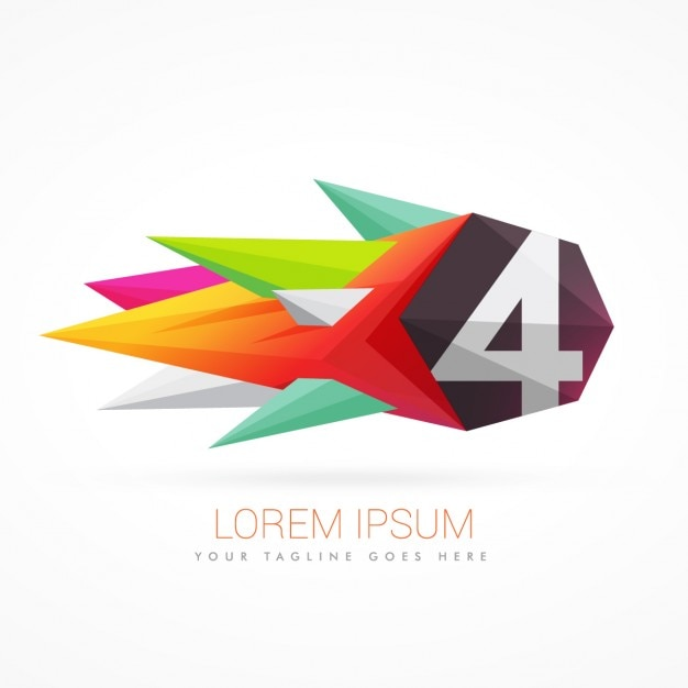 Bunte abstrakte logo mit der nummer 4 Kostenlosen Vektoren