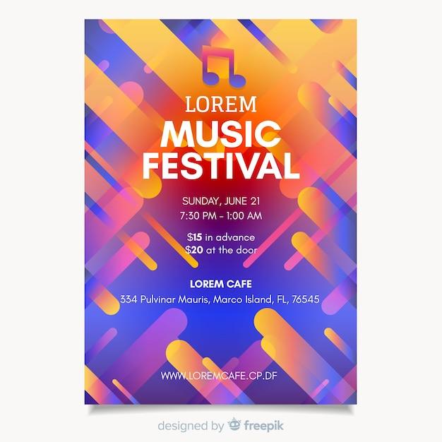 Bunte abstrakte musikfestival-plakatschablone Kostenlosen Vektoren