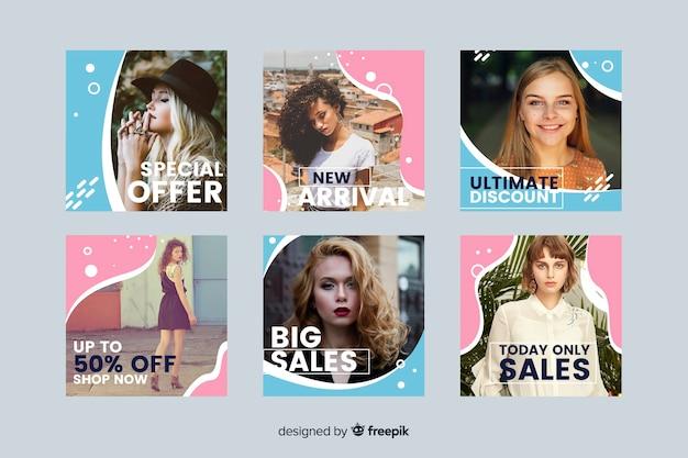 Bunte abstrakte verkauf instagram beitragssammlung mit foto Kostenlosen Vektoren