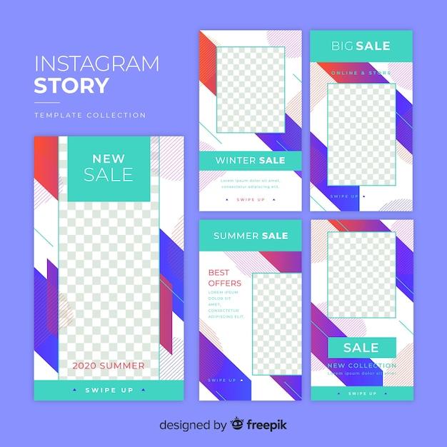 Bunte abstrakte verkauf instagram geschichten Kostenlosen Vektoren