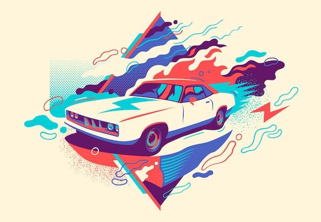 Bunte abstraktion mit retro-auto. Premium Vektoren