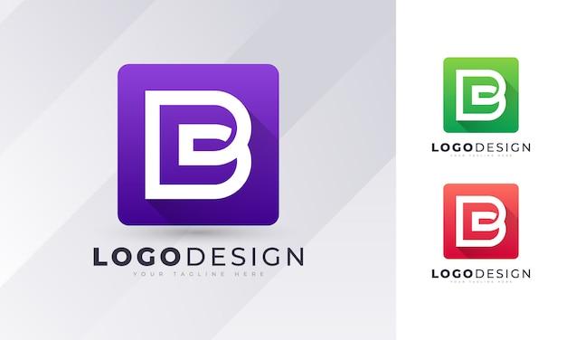 Bunte anfängliche b-buchstaben-logo-entwurfsschablone Premium Vektoren