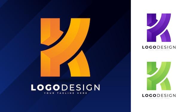 Bunte anfängliche k-buchstaben-logo-entwurfsschablone Premium Vektoren