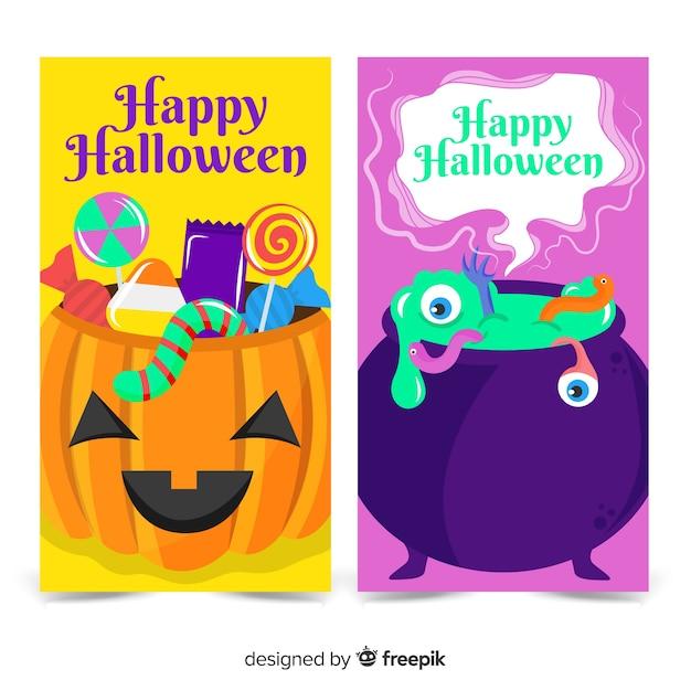 Bunte ansammlung halloween-fahnen Kostenlosen Vektoren