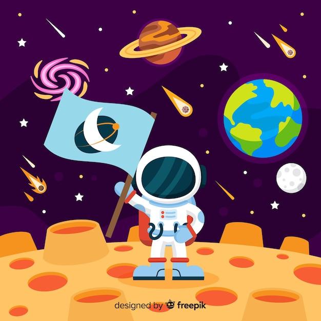 Bunte astronautenzusammensetzung mit flachem design Kostenlosen Vektoren