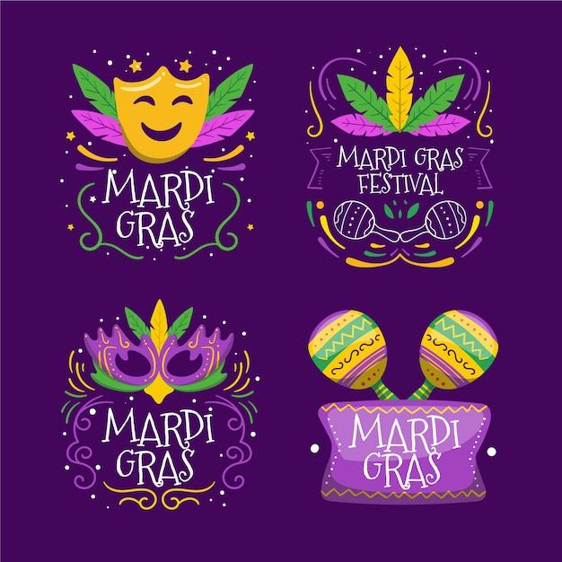 Bunte aufklebersammlung des karnevals Kostenlosen Vektoren