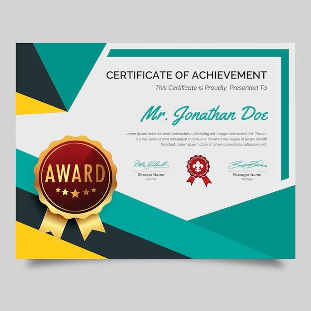 Bunte award-zertifikat Premium Vektoren