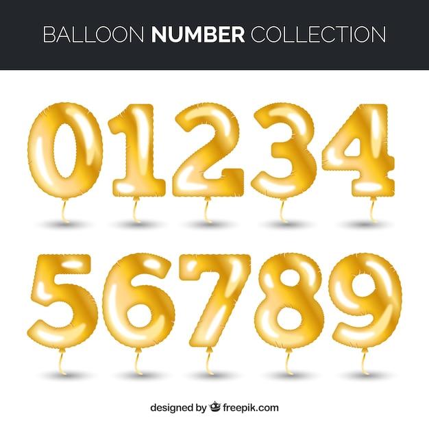 Bunte ballon nummer sammlung Kostenlosen Vektoren