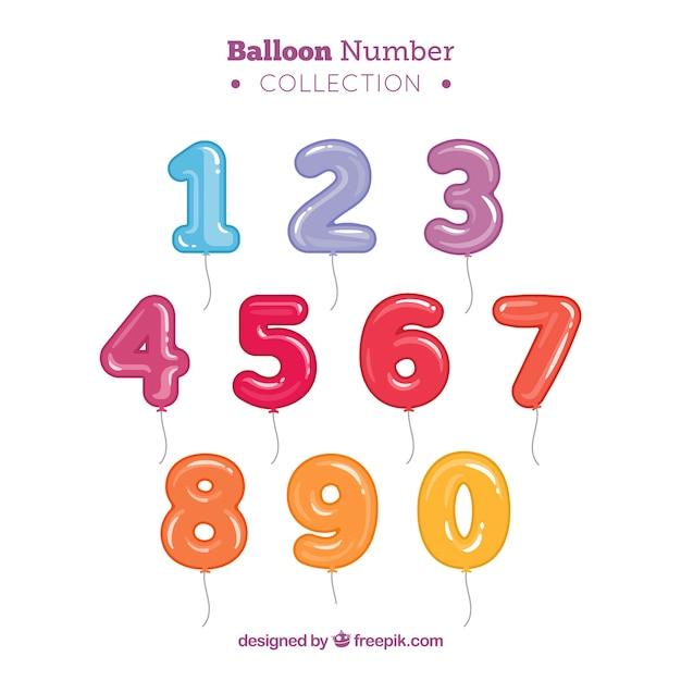 Bunte ballon nummer sammlung Premium Vektoren