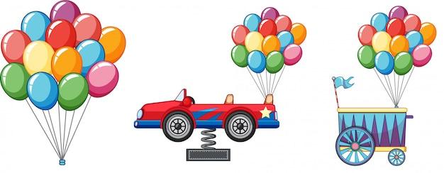 Bunte ballone mit auto und wagen Kostenlosen Vektoren