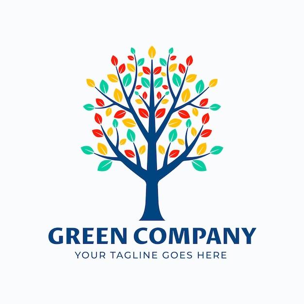 Bunte blätter lebensbaum logo logo vorlage Kostenlosen Vektoren