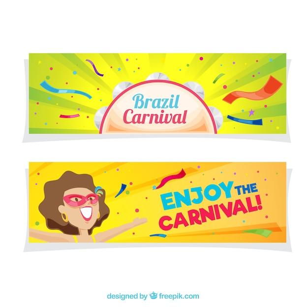 Bunte brasilianische karneval banner in flaches design Kostenlosen Vektoren