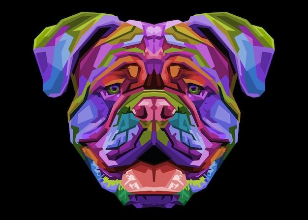 Bunte britische bulldogge auf pop-art-stil. Premium Vektoren