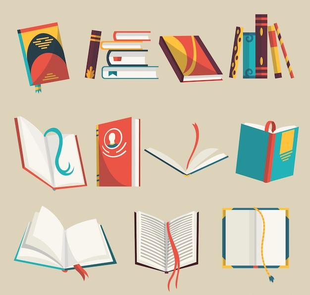 Bunte bücherikonen setzen, illustration. lernen und lernen. sammlung mit geöffneten und geschlossenen büchern. bildung und wissen. Premium Vektoren