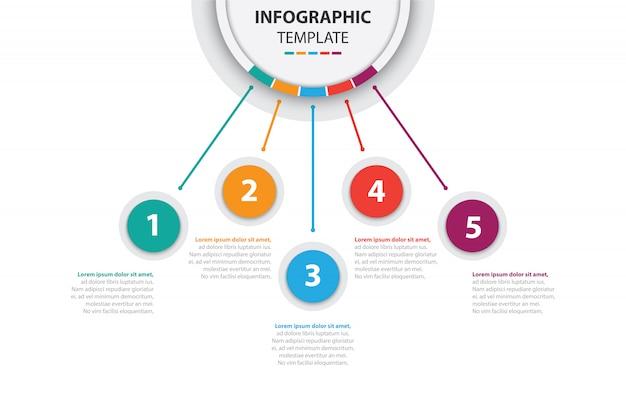 Bunte business infographik vorlage mit 5 optionen Premium Vektoren