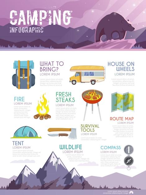Bunte campingvektor-infografik. Premium Vektoren