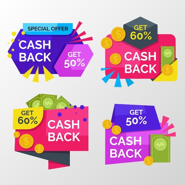 Bunte cashback-etiketten mit rabatt Kostenlosen Vektoren