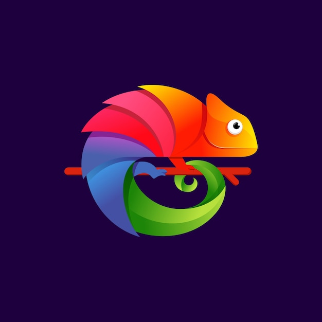Bunte chamäleon-logo-designillustration Premium Vektoren