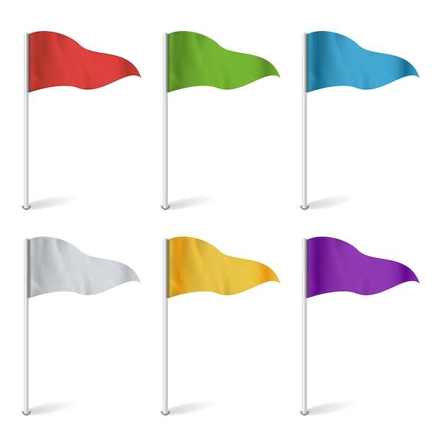 Bunte cocktailflaggen. set multi colored pins abbildung. Premium Vektoren