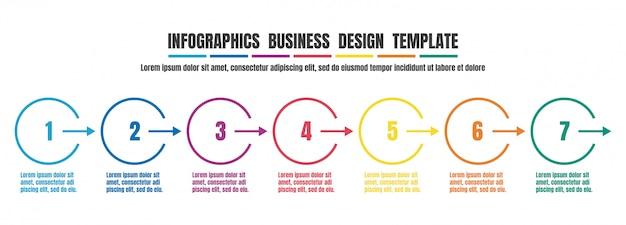 Bunte designschablone der infografiken-zeitachse für geschäft Premium Vektoren