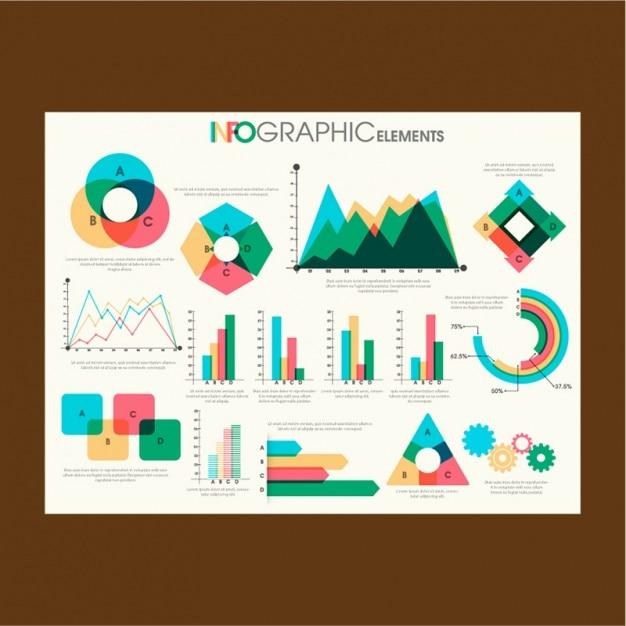 Bunte Diagramme für Infografiken in flaches Design Premium Vektoren
