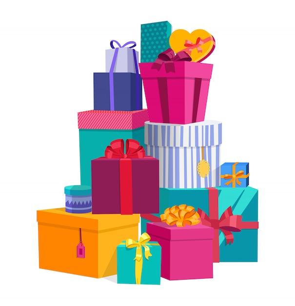 Bunte eingewickelte anwesende geschenkkästen mit bögen Premium Vektoren