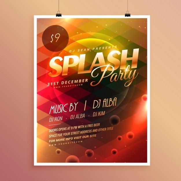 Bunte Einladung Flyer Poster Vorlage Splash Party | Download der ...